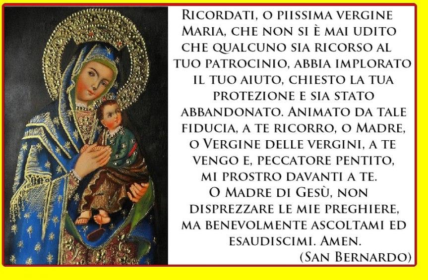 Risultati immagini per preghiera di san bernardo alla madonna ricordati