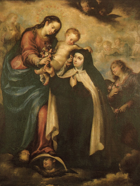 virgin-mary-and-st-teresa-of-avila-painting-on-postcard-spain