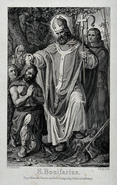 Saint_Boniface._Engraving_by_H._Kipp_after_K._Clasen._Wellcome_V0031743