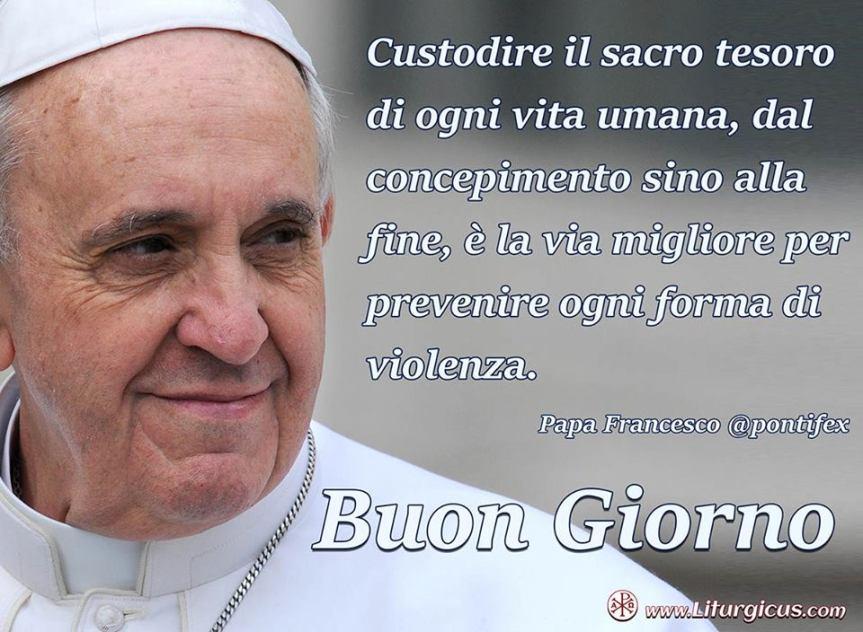 """Il Papa: """"Custodire vita, dal concepimento alla fine, è prevenire ogni forma di violenza"""". Messaggio all' ONU: """"imperativo morale eliminare arminucleari"""""""